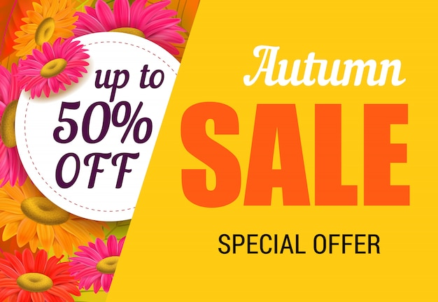 Autumn sale lettering with bright flowers. autumn offer or sale advertising