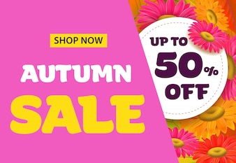 Autumn sale lettering with flowers. Autumn offer or sale advertising