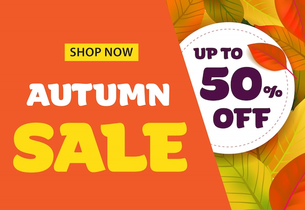 Autumn sale lettering with leaves. autumn offer or sale advertising