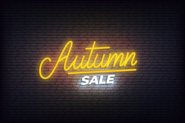 Autumn sale neon. glowing lettering sign