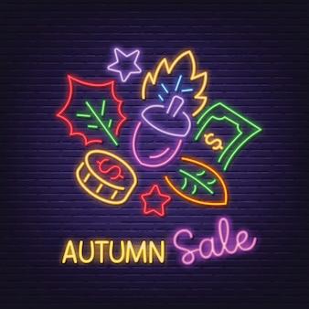 Autumn sale neon signboard