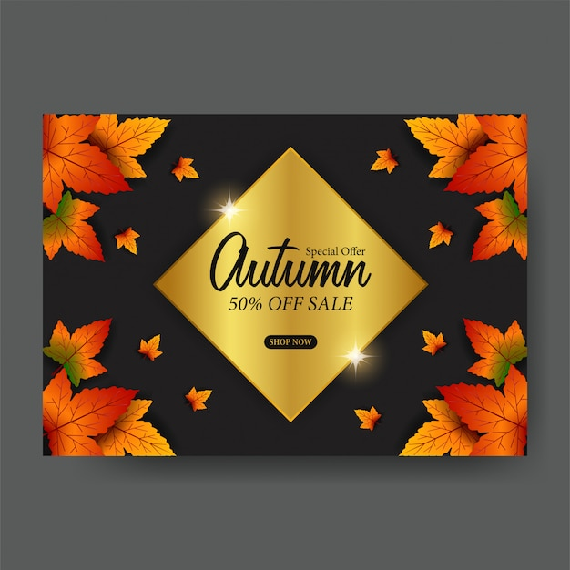 Autumn sale offer leaves fall template
