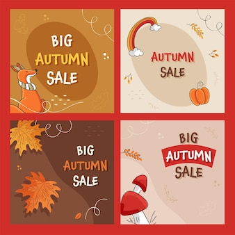 Autumn sale post or template design with 50% discount offer in four options.