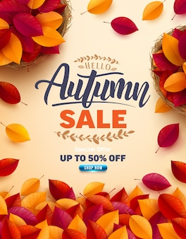 Autumn sale poster and banner template.top view of basket with autumn colorful leaves on yellow background.greetings and presents for autumn season.promotion template for autumn or fall concept