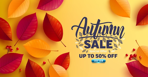 Autumn sale poster and banner template with autumn colorful leaves on yellow background