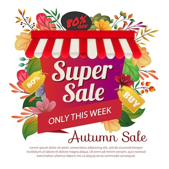 Autumn sale poster colored leaves foliage illustration