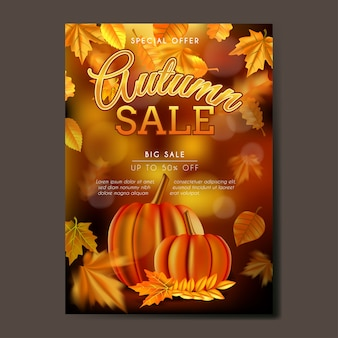 Autumn sale poster or flyer with leaves background
