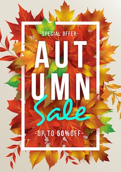 Autumn sale poster template/background