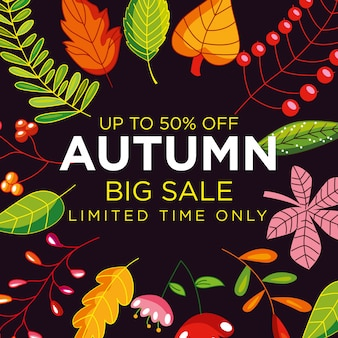 Autumn sale poster with leaves frame