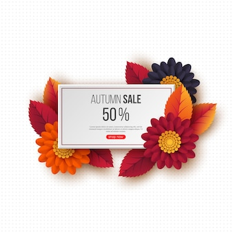 Autumn sale rectangular banner with 3d leaves, flowers and dotted pattern. template for seasonal discounts