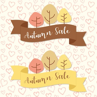 Autumn sale ribbons with trees