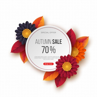 Autumn sale round banner with 3d leaves, flowers and dotted pattern.  template for seasonal discounts