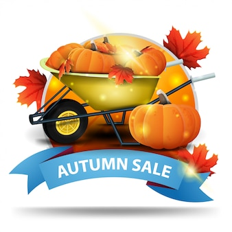 Autumn sale, round discount clickable web banner with ribbon