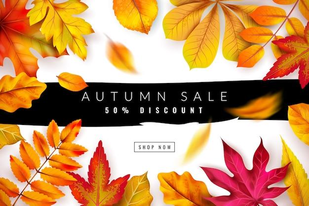 Осенняя распродажа. рекламы сезонных осенних скидок с красной и оранжевой листвой.