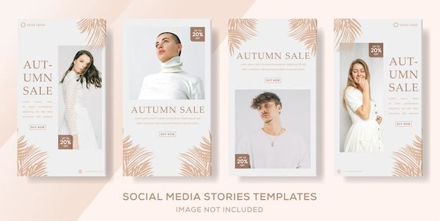 Autumn sale social media banner stories