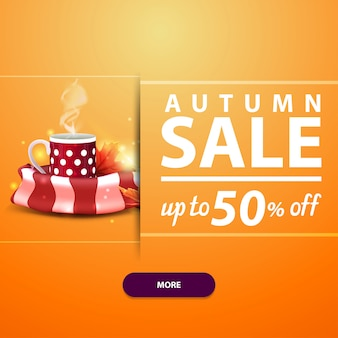 Autumn sale, square banner for your website, advertising and promotions with mug of hot tea and warm scarf