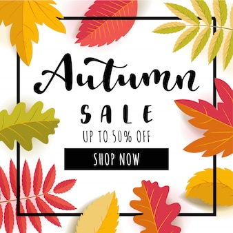 Autumn sale square promotion banner.