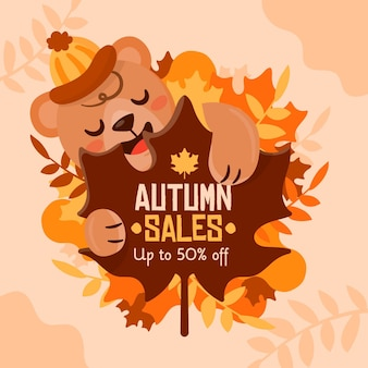 Autumn sale squared banner with bear