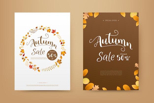 白い背景の上に落ちる秋の乾燥葉と秋の販売タグバナーカバー
