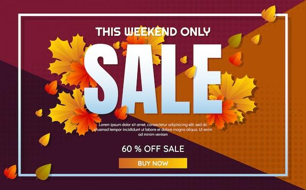 Modello di vendita autunno banner sfondo vettoriale