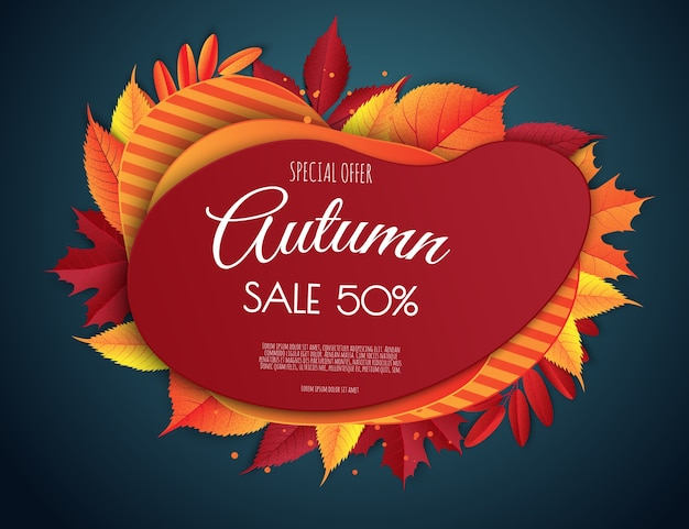 Autumn sale template. bright fall leaves.