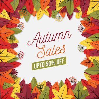 Осенняя распродажа шаблон концепции