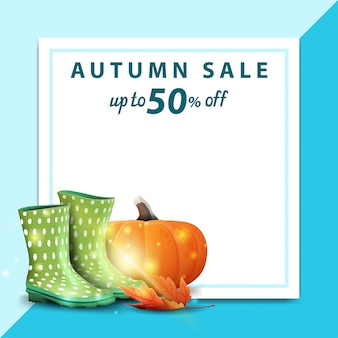 Autumn sale, template for discount banner in the form of a sheet of paper