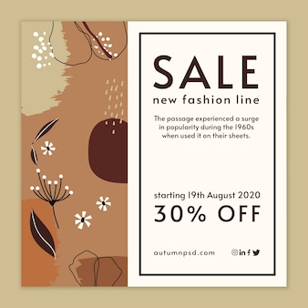 Autumn sale template square flyer