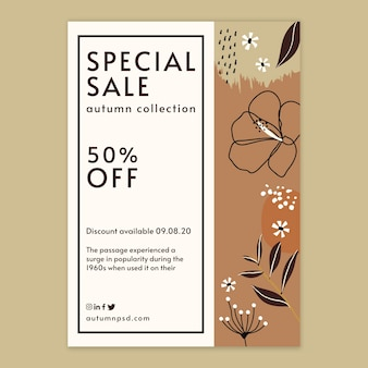 Autumn sale template vertical flyer