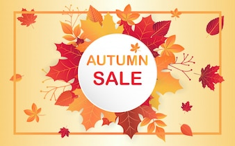 Autumn sale template with fall leaves.