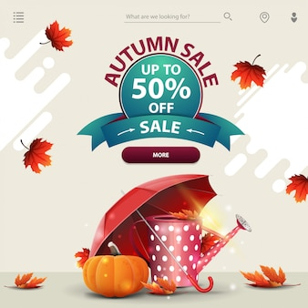 Autumn sale, a template for your website in a minimalist light style with garden watering can,