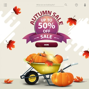 Autumn sale, a template for your website in a minimalist light style with garden wheelbarrow with a harvest of pumpkins and autumn leaves