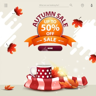 Autumn sale, a template for your website in a minimalist light style with mug of hot tea and warm scarf