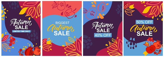 Autumn sale templates lettering typography vector or illustration autumn icon and badge or poster