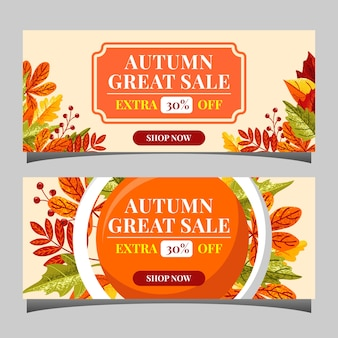 Autumn sale text banners for september shopping promo