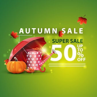 Autumn sale, two horizontal discount banners in the form of a ribbon with garden watering can
