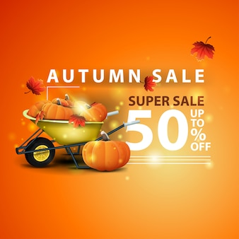 Autumn sale, two horizontal discount banners in the form of a ribbon with garden wheelbarrow