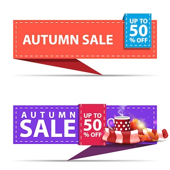Autumn sale, two horizontal discount banners in the form of a ribbon