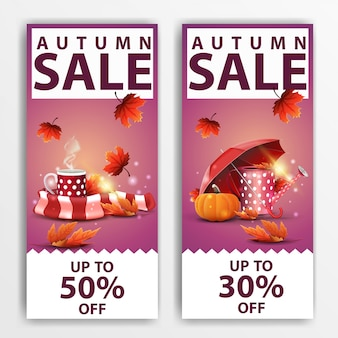Autumn sale, two vertical discount banners \