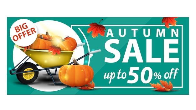 Autumn sale, up to 50% off, green discount web banner with garden wheelbarrow