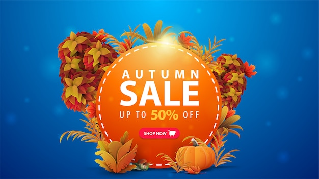 Autumn sale, up to 50% off, orange round discount banner with frame of autumn leaves