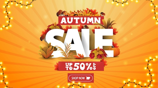 Осенняя распродажа, скидка до 50%, оранжевый баннер со скидкой с 3d-текстом, украшенным элементами осени и осенней растительности, пуговица и рамка с гирляндами