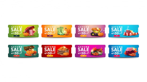 Осенняя распродажа, скидка до 50%, набор современных дисконтных баннеров с кнопками и осенними элементами для вашего бизнеса. зеленые, оранжевые, розовые и синие осенние баннеры скидок