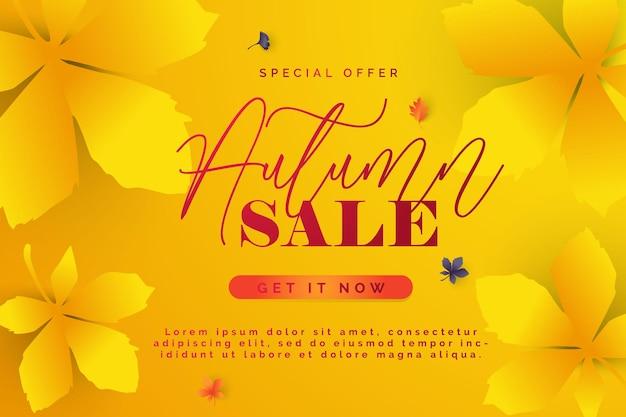Осенняя распродажа векторный фон осенняя распродажа и скидка текст в красном пространстве с кленовыми листьями в белом