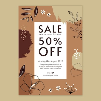 Autumn sale vertical flyer template