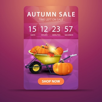 Autumn sale, web banner with countdown to the end of the sale with garden wheelbarrow