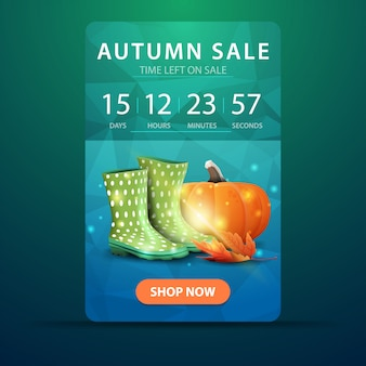 Autumn sale, web banner with countdown to the end of the sale with rubber boots and pumpkin