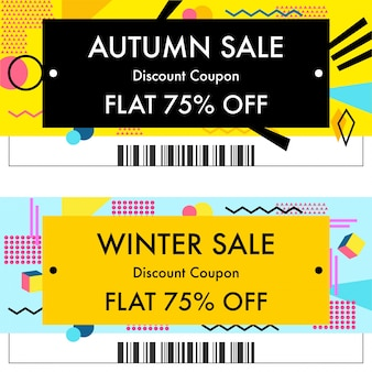 Autumn sale or winter sale discount vouchers.