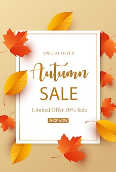 Autumn sale with colorful leaves