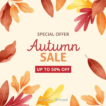 Autumn sale with dried leaves